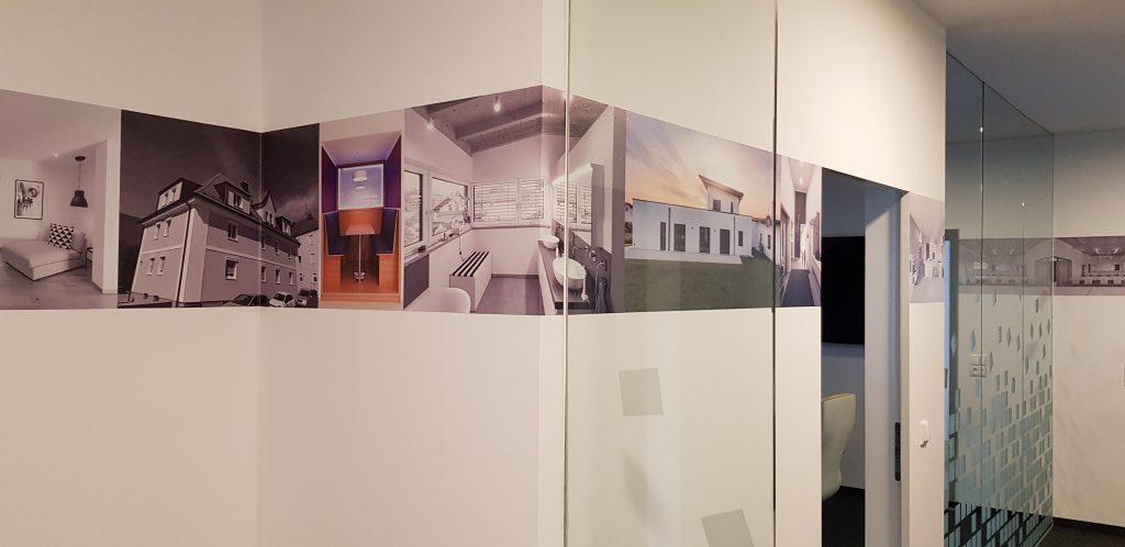 Innengestaltung Roland Weinmann Architekten Kirchberg im Wald Landkreis Regen woidstyle Digitaldruck Beschilderung Schilder Werbetechnik Werbung
